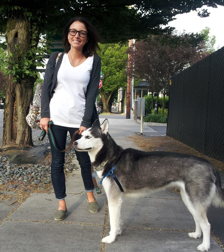 Nicole and Peeta leave the indoor dog park in Portland's Pearl District