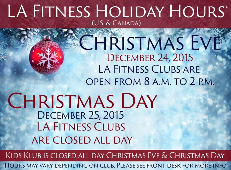 la fitness Christmas day hours 2015 Archives - The Official Blog ...