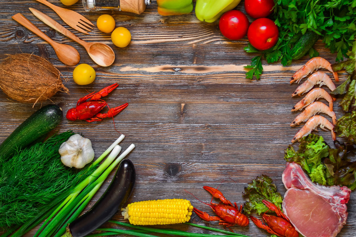 Meats, Fruits, and Vegetables to reach 100% Daily Value of Vitamins and Minerals